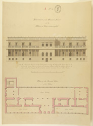 Plan of the 2nd floor of the palace, Gurramkonda, and elevation of the W. front
